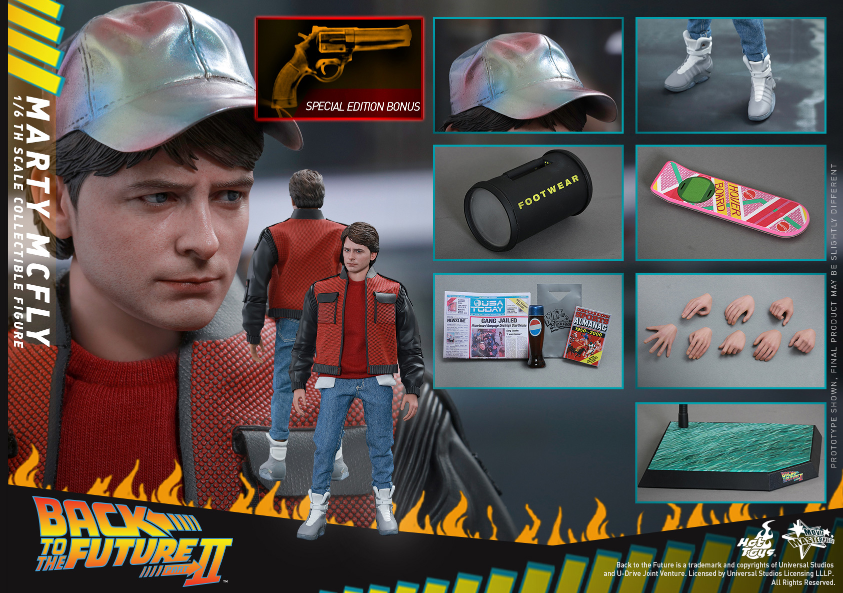 1//6 Hot Toys Back to the Future Marty McFly V1 Improvement Waterslide Decals
